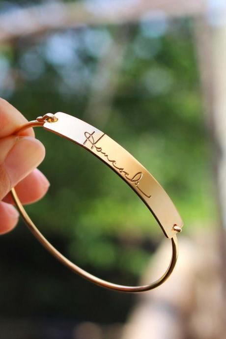 Signature Engraving Bar Bracelet - Handwriting Bangle - Keepsake Signature